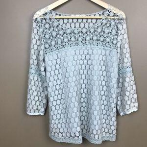 Long Sleeve Crochet Top Gray Small Boho Hippie